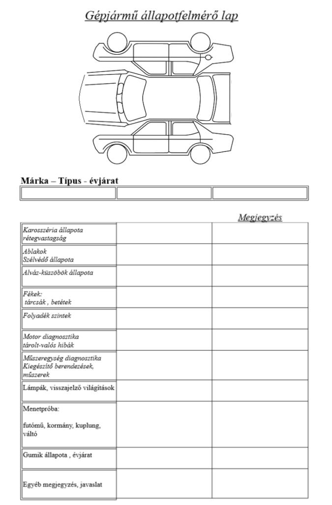 gépjármű állapotfelmérő lap